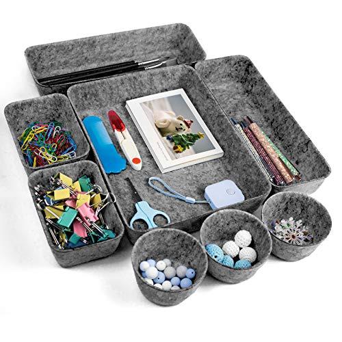 Surmounty Filz Schubladen Ordnungssystem, 8Pcs Schreibtisch Organizer Schubladen Organizer Tabletts, 4 Größen Aufbewahrungsboxen für Schreibtisch Büro Schubladen (Dunkelgrau)