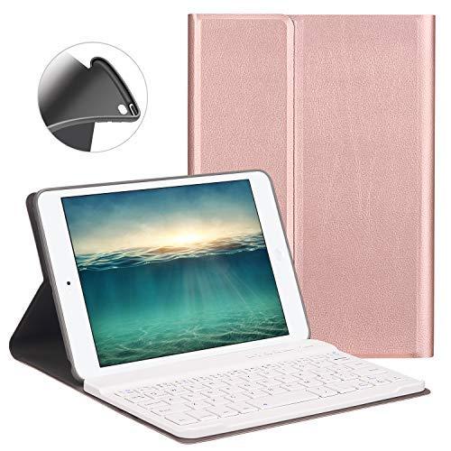 GOOJODOQ Custodia Tastiera Bluetooth per iPad Mini 4/5, LUCKYDIY iPad 7.9 Custodia con Tastiera, Tastiera Staccabile Magnetica con Cover Rosa
