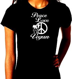 Peace Love Vegan Cow Food Humor Trendy Unisex Short Sleeve T-Shirt Tee Shirt Gift