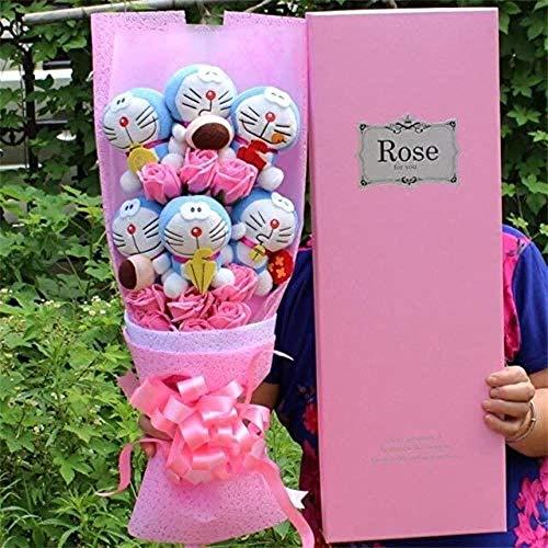 Day Fake Fashio Cute knuffeldier Pluchen speelgoed Mooie Doraemon Cartoon Roses Boeket Creative Valentine's Zonder Gift Box Blue Grootte: zonder geschenkdoos, Kleur: Pink