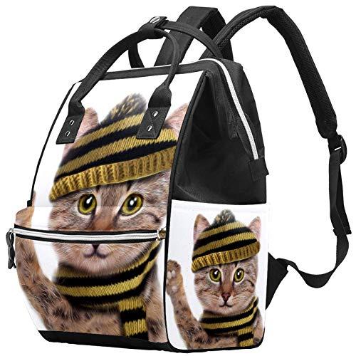 Bennigiry Sac à dos de voyage avec motif chaton mignon « Hello », sac à langer de grande capacité, sac à dos de voyage, sac à langer multifonction pour maman