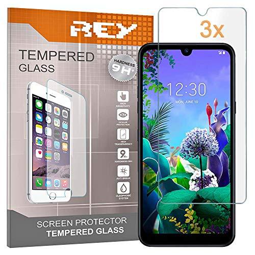 REY 3X Protector de Pantalla para LG Q60 - LG K50, Cristal Vidrio Templado Premium