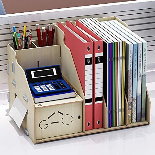 Almacenamiento creativo, caja de almacenamiento de escritorio de madera multifuncional, gabinete de almacenamiento fijo de escritorio de bricolaje con 3 piezas de estante de archivos A4, portalápices
