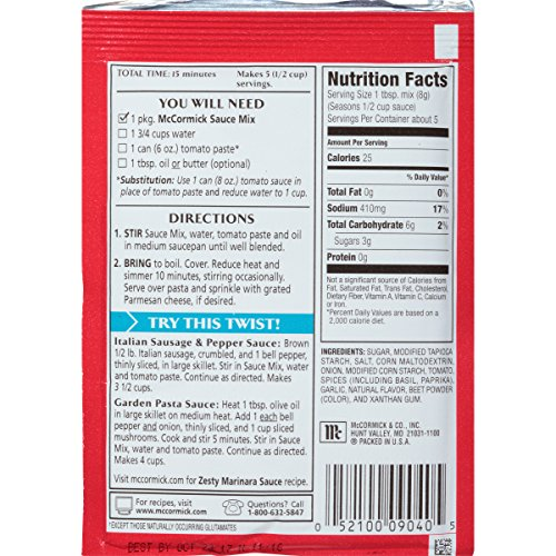 McCormick Thick And Zesty Spaghetti Sauce Mix, 1.37 oz (Pack of 12)