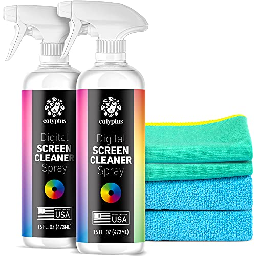 Calyptus Screen Cleaner Spray and Pixel Shining Screen Cloths Kit | Plant Based Power | USA Made | iPad, TV, Tablet, Computer, Monitor Cleaning, 16 Ounces + 2 Microfiber (Pack of 2)