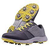 Thestron Men Golf Shoes Professional Waterproof Spikes Golf Sport Sneakers (10.5,615-Grey)