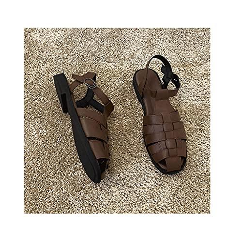 HOUFT Sandalias de Mujer, Sandalias de Playa, Sandalias Romanas Sin resbalones, Zapatos Casuales, Sandalias de baño y Zapatillas para Summe Interior y Exterior (Color : Brown, Size : 39EUR)