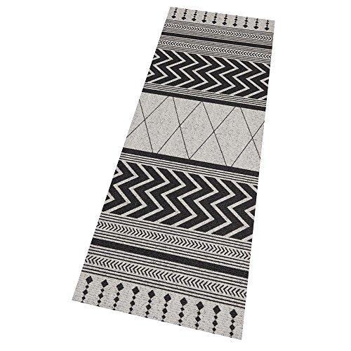 Zala Living Waschbarer Küchenläufer Küchenteppich Teppichläufer Novo (60x180 cm, 100% Polyamid, rutschfest, Fußbodenheizung geeignet), Grau Schwarz