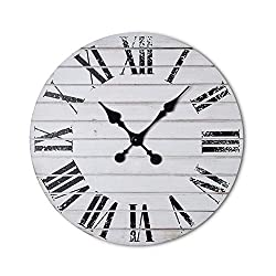 Dujawu Products Rustic White Wall Clock - Distressed Roman Numerals - Farmhouse Decor - Home/Office Clock - 16 inches - Silent Tick