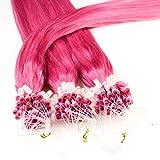 Hair2Heart 150 x 1g Extensiones de micro ring pelo natural - 60cm, colore #fucsia, liso