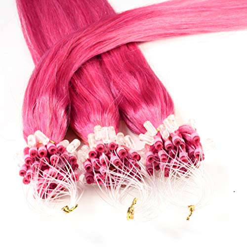 hair2heart 25 x 0.5g Echthaar Microring Loop Extensions, 50cm - glatt - #pink