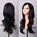 Wigood 28 Inch 70cm Long Big Wavy Curly Hair Heat Resistant Wig With Free Wig Cap and Comb For Women's Cosplay Halloween Party Costume(Black)