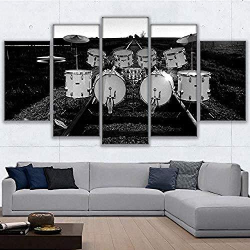 Relovsk Cartel impreso en HD Pinturas en lienzo Cuadros modulares Marco Imágenes Pared 5 Panel Instrumento de música Tambor para sala de estar_20x35cmx2 20x45cmx2 20x55cmx1 Frame