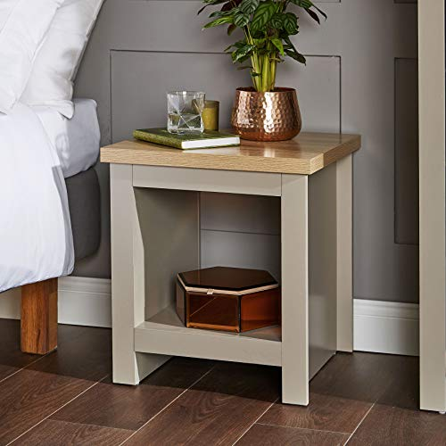 Home Source Grey Oak Lamp Table Bedside Table Two Tone Side End Coffee Table Dorset