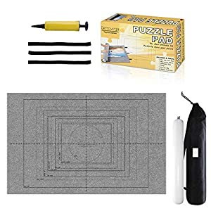 Jigsaw Puzzle Mat Roll Up - 3000 Pieces Saver Large Puzzles Board for Adults Kids, Storage and Transport Premium Pump Puzzle Glue Puzzles Felt Mat Inflatable Tube Cover Keeper Pad Holder Organizer by Gropecan