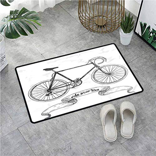 Summix Back Door Mat Ride Your Bike Lettering with Nostalgic Mountain Bike Hand Drawn Sketchy,Doormats for Indoor Entrance with Non-Slip Base & Lock Edge 23.6X35.4 Inch,Charcoal Grey White