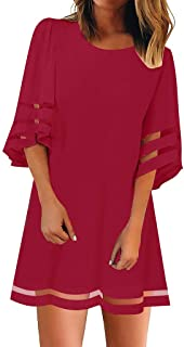 comprar comparacion VEMOW Faldas Mujer Blusa con Panel de Malla en el Cuello O de Las Mujeres 3/4 Vestido de Camisa Suelta con Manga de Campana