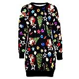 Mnyycxen Fashion Women Christmas Print Long Sleeve Pullover Sweater Dress O Neck Knee Length Casual Mini Dress Black