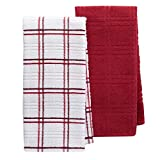 Food Network 2-pk Quick-Dry Plaid Kitchen Towels (Rio Red)
