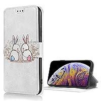 ウサギ 恋 カップル おしゃれ 可愛い iPhone X/XS ケース 財布型 高級PUレザー 保護ケース 多機能 耐摩擦 滑り防止カード収納 マグネット式 スタンド機能 スマートフォンケース
