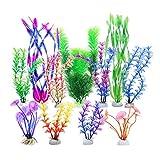 LLGL - Set di 11 piante acquatiche artificiali in plastica, per acquario, pesce, decorazione
