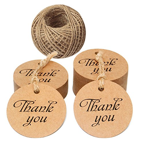 100 PCS Kraft Paper Tags with'Thank You' Printed,Round Kraft Paper Gift Hang Tags,Valentine's Day Craft Tags with 100 Feet Jute Twine (Brown)