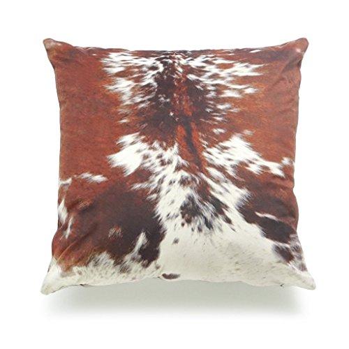 Hofdeco Decorative Throw Pillow Cover Premium Short Plush Fall Decor Tri Color Brown Southwestern Cowhide Print 18'x18' 45cm x 45cm