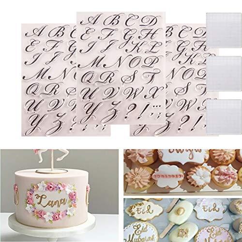 DFRY 2/3 Set Alphabet Kuchenstempel Werkzeug, sichere und Wiederverwendbare Alphabet Kuchen Schablonen, für DIY Kuchen Kekse Machen und Weihnachtsdekoration (3)
