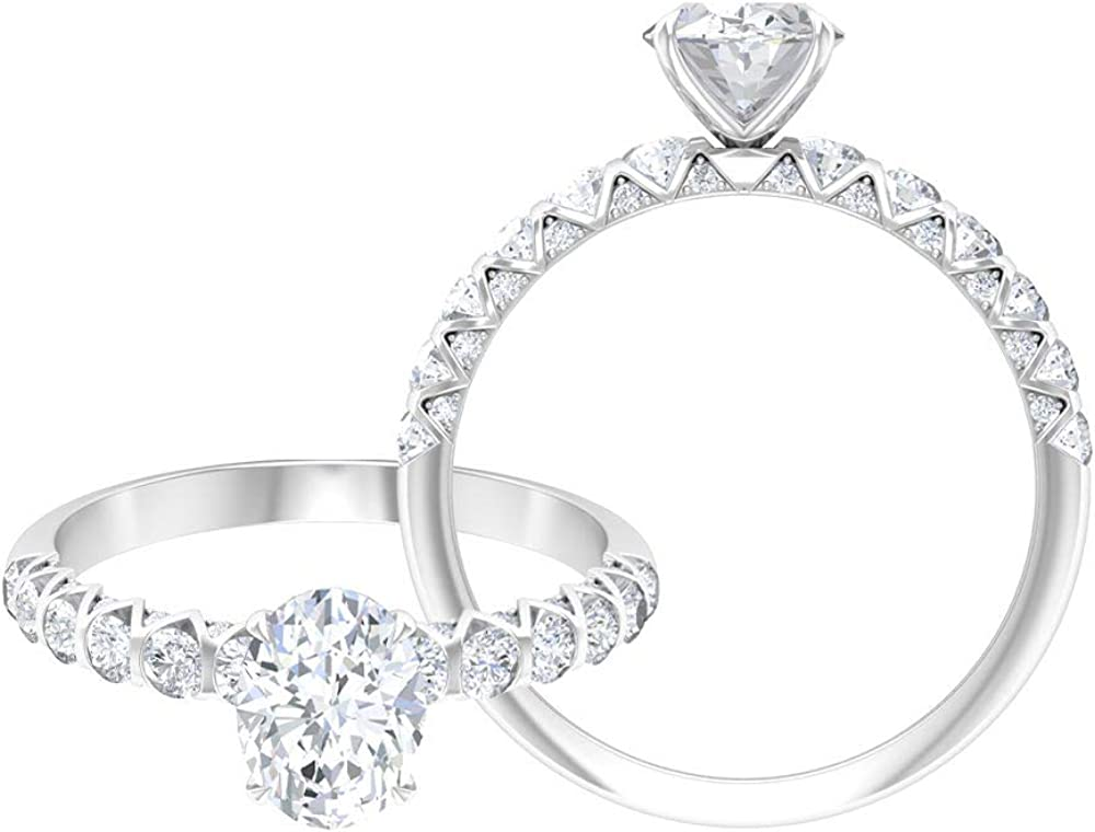 Rosec Jewels Solitaire Engagement Ring, Side Stone Ring with 2 CT D-VSSI Moissanite, Oval Ring (AAA Quality),14K White Gold,Moissanite,Size:US 3.00
