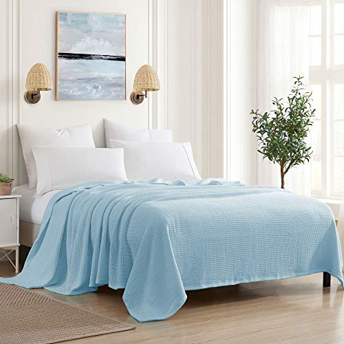 Sweet Home Collection 100% Fine Cotton Blanket Luxurious Basket Weave Stylish Design Soft and Comfortable All Season, Full/Queen, Pearl Blue