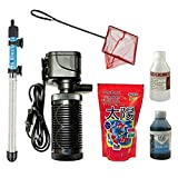 COMES WITH EVERYTHING YOU NEED - Accessories Includes 1*Air filter Pump, 1*Air 100 watt temp adjustable automatic cutt off heater 1 * fish food 100 gm , 1 * blue liquid , 1 * dechlorine , 1 * fish net 6 items all you need to begin ur aquarium LEAVE T...