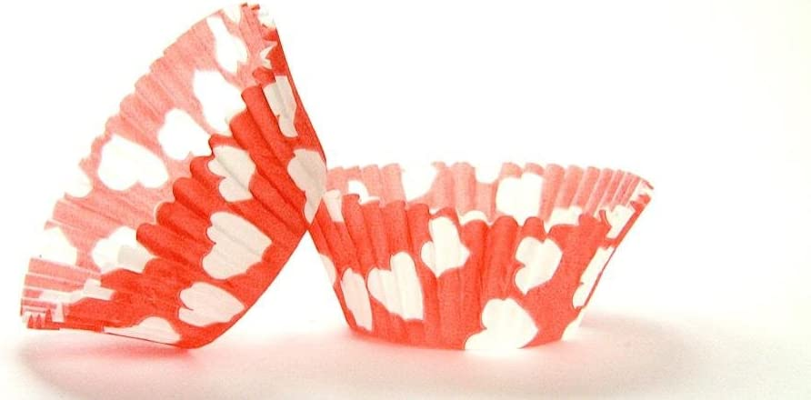 50pc Heart Design Red Standard Size Liners Baking Cups W Attention brand Cupcake unisex