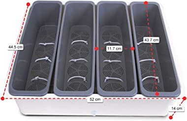 Jaoul Flower Window Box XXLarge Plastic Planters Organizer for Multi Plants, Roots Automatic Watering Planter, Size 17.520 inch, 5 in 1 Planter with Free Coconut Coir Growing