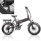 Bicicleta eléctrica Velocidad máxima de conducción 45 km/h Bikes electrica Plegable Ebike Iones de Litio 13.6AH Freno Frenos de Disco mecánicos, Negro