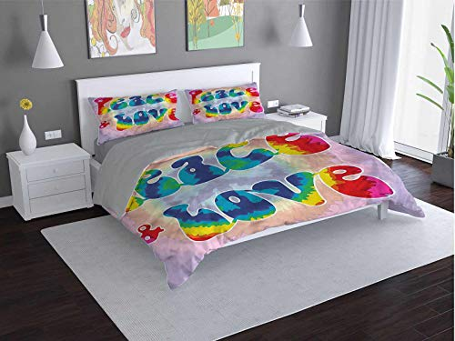 Groovy Comfort Luxurious Softest Premium Bed Sheet Set Youth-Peace-Love-Tie-Dye Anti-wrinkle and anti-fading (Twin)