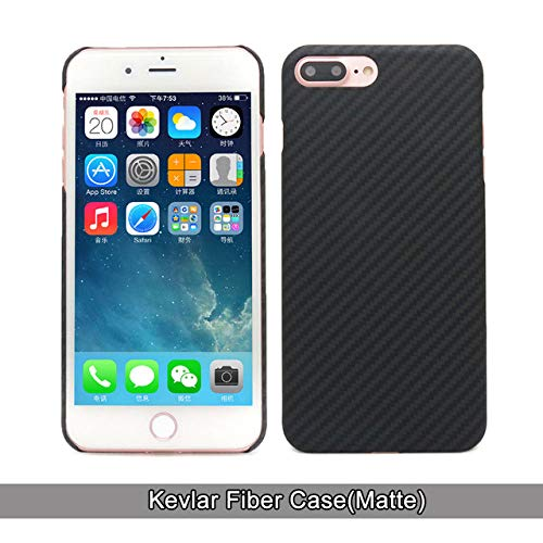 JLFDHR Funda de Fibra de Carbono iPhone 8 Plus Funda de Fibra de aramida Ultra Delgada Apple iPhone 7 Plus-para iPhone 7 8 Plus-Kevlar Matter Black