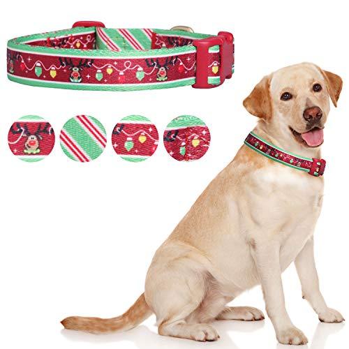 Pet Rejoir Christmas Dog Collar– Cute Reindeer with Christmas Lights Holiday Dog Collar– Neck 19~25' Adjustable Pet Collar for Large Dogs