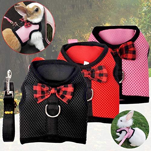 Ioffersuper 3Set Rabbit Harness Leash Cat Leash Soft Mesh Breathable Vest Harness Pet Traction Chest Strap Set Adjustable Small Pet Harness for Rabbit,Cats,Hamster(Pink,Red,Black,M)