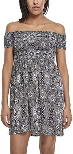 Urban Classics Damen Ladies Smoked Off Shoulder Dress Kleid, Mehrfarbig (Bandana 01060), 50 (Herstellergröße: 5XL)