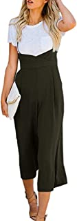 Imysty Womens Spaghetti Strap Jumpsuits Wide Leg Backless Overall Romper Pants with Pockets