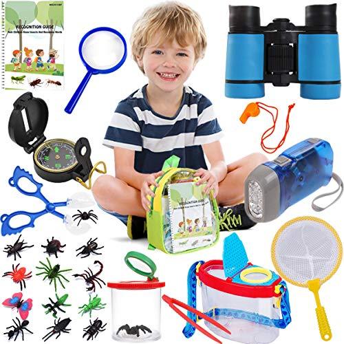 Kit de captura de insectos para niños, kit de exploración al aire libre, kit de recogida de insectos para niños, kit de explorador de insectos al aire libre, kit de explorador de insectos para niños Explorer Adventure Binoculares para acampar, equipo de regalo educativo para niños