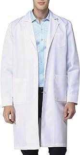 Bata de Laboratorio Enfermera Sanitaria de Trabajo Blanca con Manga Larga para Hombre