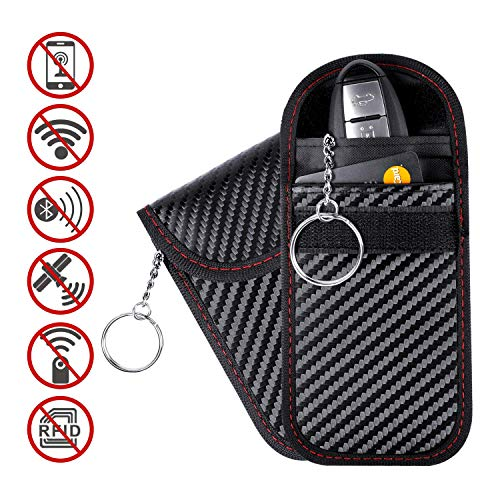 Keyless Entry Fob Guard Signal Blocking Pouch Bag,Healthy Cell Phone Privacy Protection Security WiFi//GSM // LTE//NFC // RF Blocke YIKA YI-LSB-01 RFID Signal Blocking Case,Car Key Signal Blocker Case Black