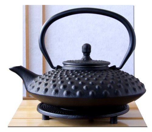 Trivet & Tetsubin Japanese style Cast Iron black big hobnail tea pot kettle 0.8L by Gifts Of The Orient GOTO®