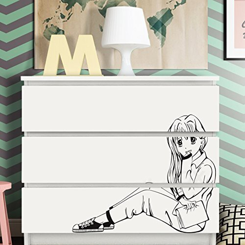 Grandora w5247 Muur Tattoo Manga Meisjes Geschikt voor IKEA HEMNES en malm dressoir - Lichtbruin, 63 x 52 cm