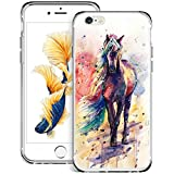 Watercolor Horse iPhone 6s 6 Case Customized Design Anti-Scratch Flexible Shock Absorption Soft TPU Protective Phone Case for iPhone 6s 6-Clear