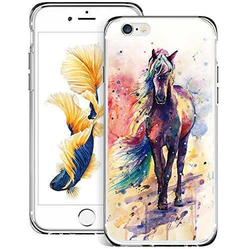 Watercolor Horse iPhone 6s 6 Case Customized Design Anti-Scratch Flexible Shock Absorption Soft TPU Protective Phone Case for iPhone 6s 6-Clear…
