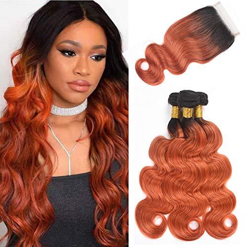 Brazilian Body Wave Human Hair Ombre Bundles With Closure, 2 Tone Virgin Brazilian Hair 3 Bundles With Closure 4x4 Lace Closure Hand Made (14 16 18 + 12, T1B/350)