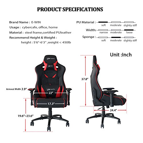 Terrific Ewin Chairs Big And Tall 450Lb Gaming Chair Gaming Chairz Gamerscity Chair Design For Home Gamerscityorg