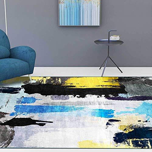 Teppich Modern Designer Teppiche Unordentliches Ölgemälde der abstrakten Kunst schwarz ye Schlafzimmer Zimmer Teppich Sofa Tisch Kind Krabbeln Matte 100x160CM (3ft28''x5ft3)